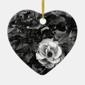 White Rose Collection Ceramic Heart Decoration