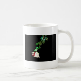 White rose covered with blood coffee mug