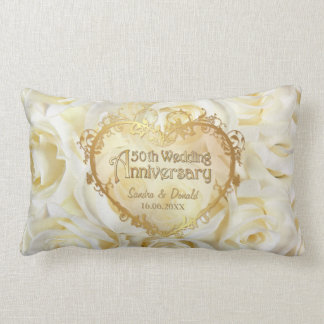 White Rose Elegance - 50th Wedding Anniversary Lumbar Cushion