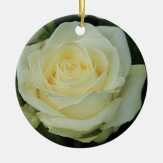 White rose experience by the Rosegarden Round Ceramic Decoration