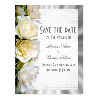 White rose floral and silver save the date postcard