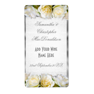 White rose floral and silver  wedding wine bottle shipping label