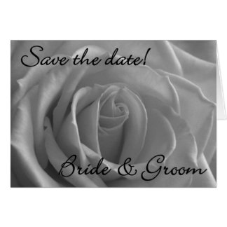 """White Rose Floral """"Save the Date"""" Card"""