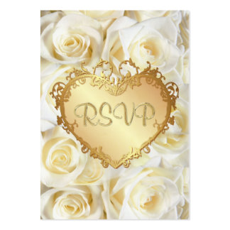 White Rose Floral Wedding RSVP Pack Of Chubby Business Cards