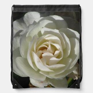 White Rose Flower Drawstring Bag