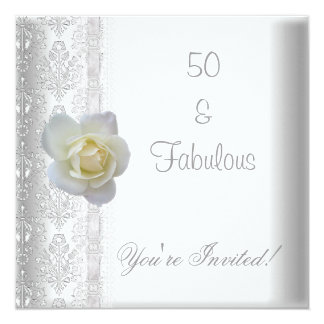 White Rose Flower Fabulous 50th Birthday Party 13 Cm X 13 Cm Square Invitation Card