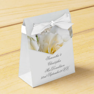 White rose flower floral romantic wedding favour box