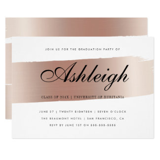 White & Rose Gold Brush Stroke Graduation Party Card