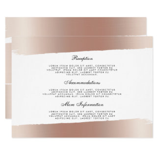 White & Rose Gold Brush Stroke Wedding Information Card