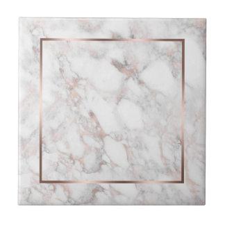 White & Rose-Gold Faux Marble Ceramic Tile
