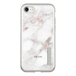 White & Rose-Gold Faux Marble Incipio DualPro Shine iPhone 8/7 Case