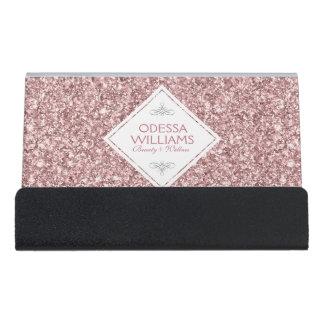 White & Rose Gold Glitter Print Template Desk Business Card Holder