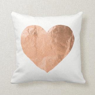 White Rose Gold Metallic Copper Heart Minimal Throw Pillow