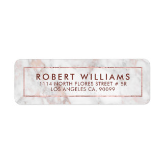 White & Rose-Gold Tones Faux Marble Return Address Label