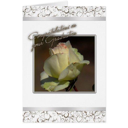 White  Rose Graduation Card