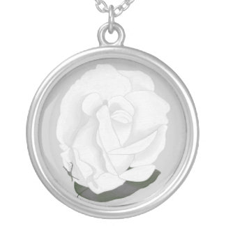 White Rose Gray Green Leaf  Necklace