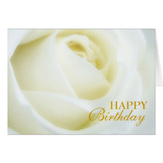 White Rose Happy Birthday Card