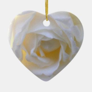 white rose heart ornament
