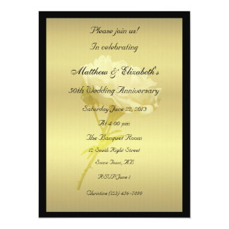 White Rose in Golden Hues Anniversary 14 Cm X 19 Cm Invitation Card