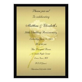 White Rose in Golden Hues Anniversary Invites