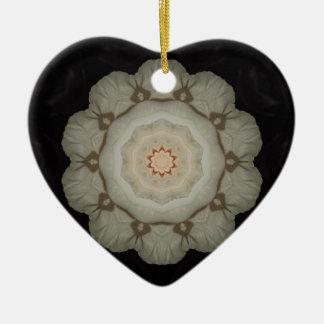 White Rose Kaleidoscope Heart Christmas Ornament
