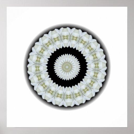 White rose kaleidoscope poster