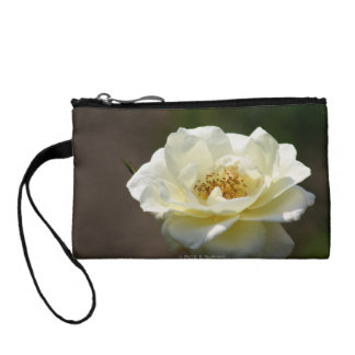 White Rose Key Coin Clutch Wristlet