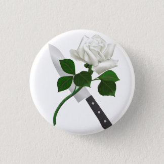 White Rose & Knife ~ Button