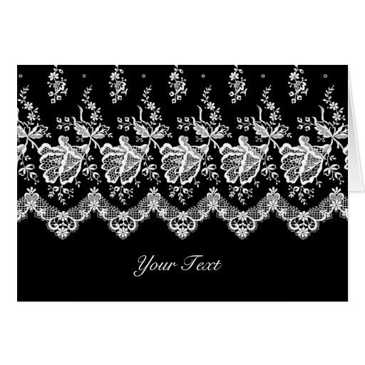 White Rose Lace A7 Greeting Card (Black)