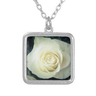 White Rose Mug Silver Plated Necklace