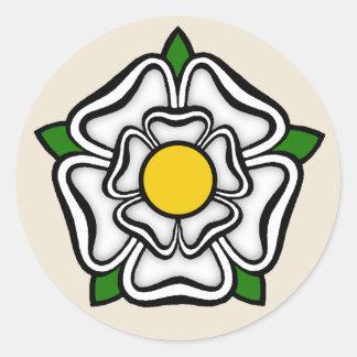 White Rose of York, England Emblem of Royalty Classic Round Sticker