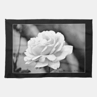 """White Rose on Black"" Kitchen Towel"