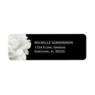 White Rose on Black Return Address Labels