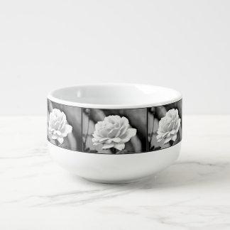 White Rose on Black Soup Mug