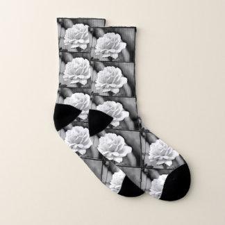 White Rose on Black Women's Socks