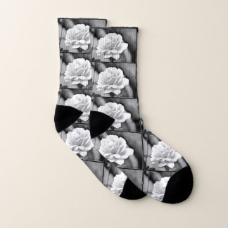 White Rose on Black Women's Socks 1