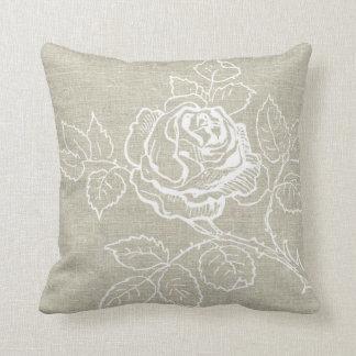 White Rose on Linen Pillow