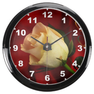 White rose on red background aqua clock