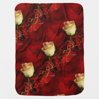 White rose on red background buggy blankets