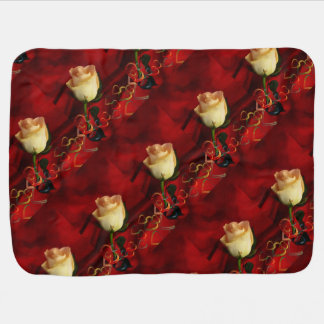 White rose on red background baby blanket