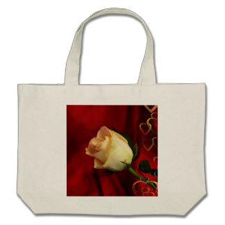 White rose on red background bag