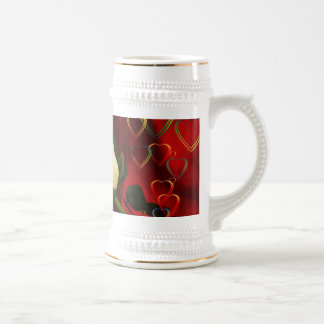 White rose on red background beer stein