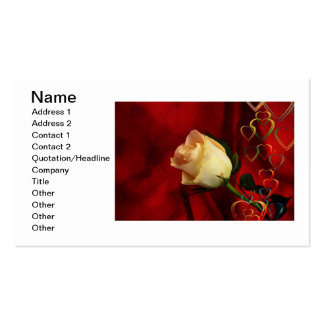 White rose on red background business card template