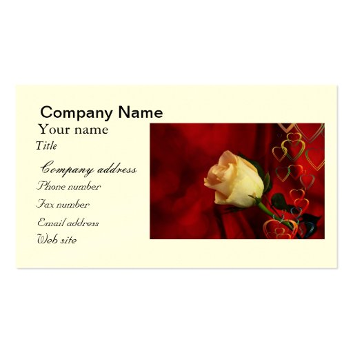 White rose on red background business card templates