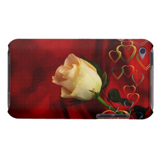 White rose on red background iPod touch covers
