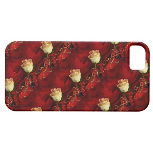 White rose on red background iPhone 5/5S covers
