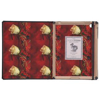 White rose on red background iPad folio case