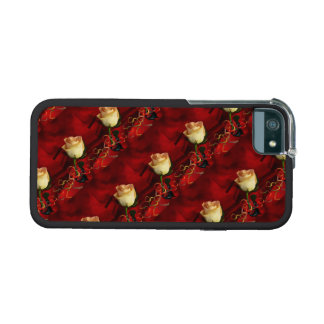 White rose on red background iPhone 5 case