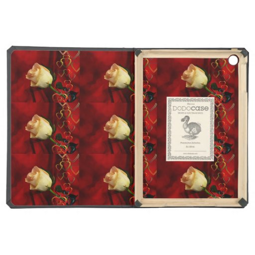 White rose on red background iPad air cases