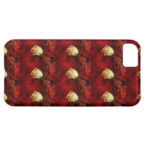 White rose on red background iPhone 5C cases